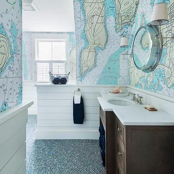 Wallpaper Over Bathroom Tiles. Blue Boys Bathroom With World Map Wallpaper