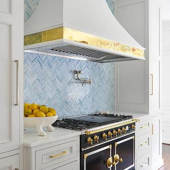 Light Gray Kitchen Cabinets with Blue Backsplash Tiles