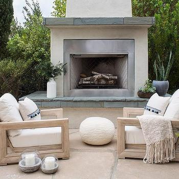stucco fireplaces. White Stucco Outdoor Fireplace With Concrete Hearth Design Ideas