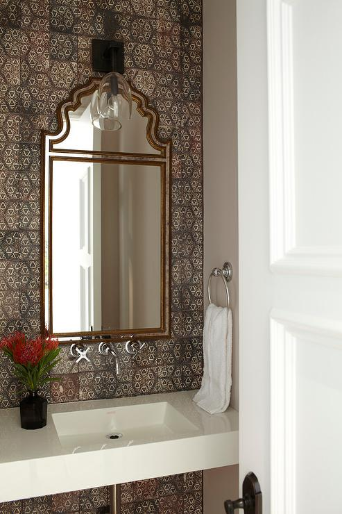 Tiled bathroom mirrors