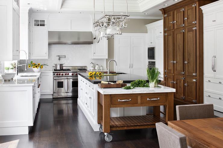 Freestanding Marble Top Baking Island Transitional Kitchen
