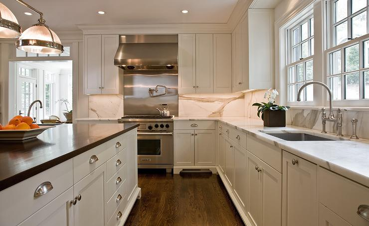 Statuary Marble Slab Backsplash Transitional Kitchen