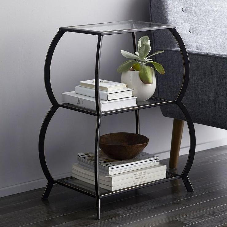 Black Frame Glass Shelves Three Tier Table