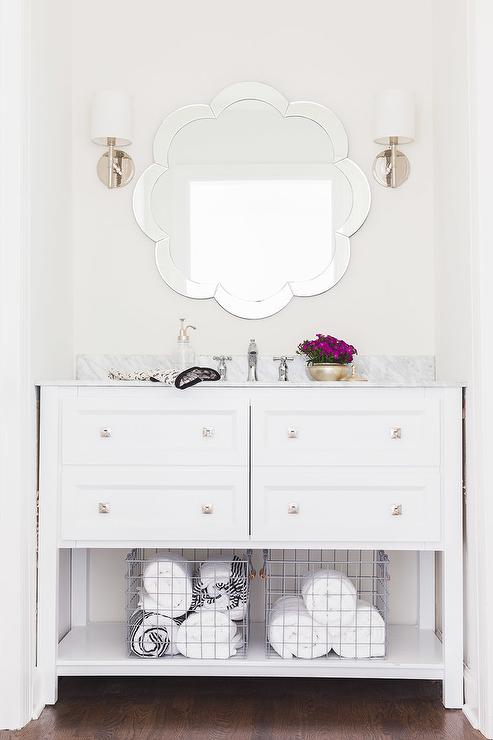 White Single Bath Vanity With Shelf And Scalloped Mirror