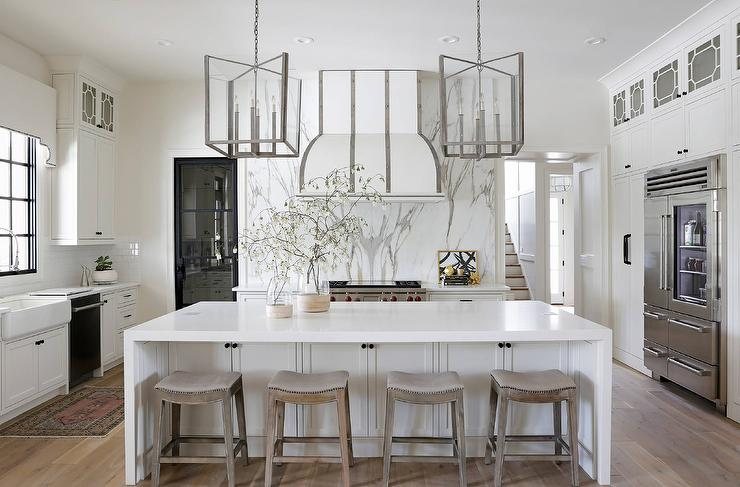 White Kitchen Island With Gray Saddle Counter Stools
