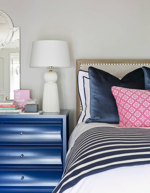 Blue Nightstand With White Tassel Lamp Transitional Bedroom