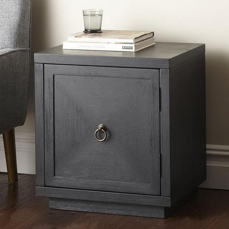 Black One Door Brass Ring Pull Side Table