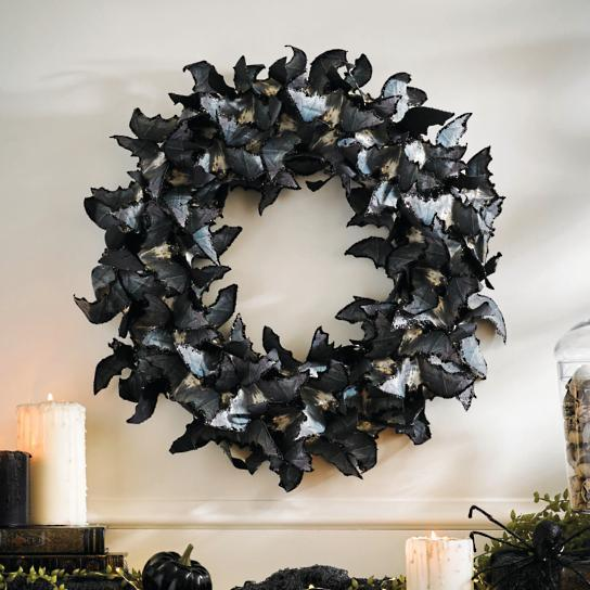Halloween Bat wreath in black and silver