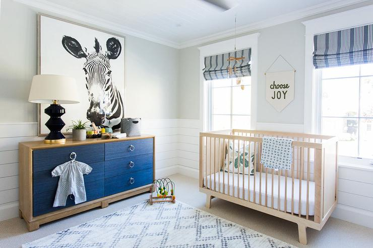 Tan And Blue Boy Nursery With Blue Linen Dresser Drawers