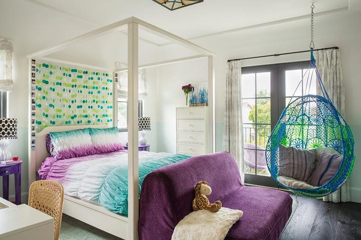 blue and purple girl bedroom with anthropologie knotted melati hanging