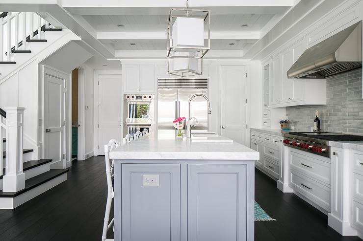 White cabinets with gray center island transitional for White kitchen gray island