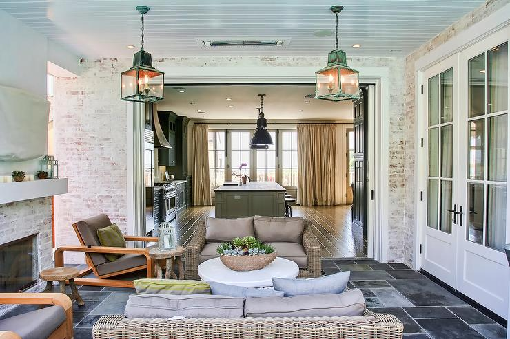 Covered Patio With Green Distressed Lanterns And