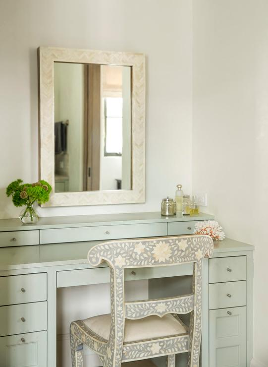 Gray Green Makeup Vanity With Black And White Bone Inlay Chair