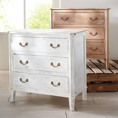 Brown And White Three Drawer Distressed Chest