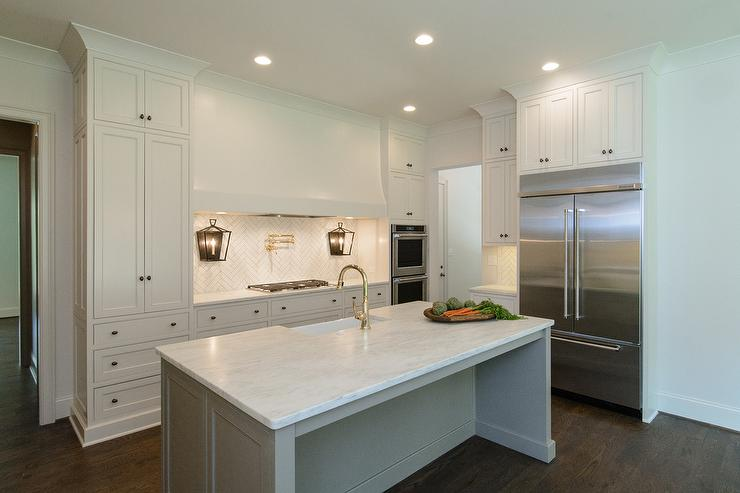 White Kitchen With Gray Island And Farmhouse Sink Transitional Kitchen