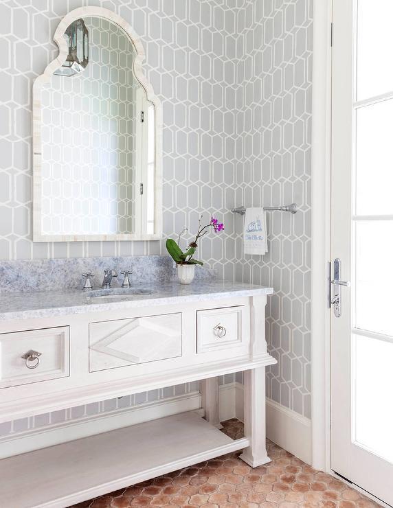 Gray Single Washstand With Blue Glass Tile Backsplash
