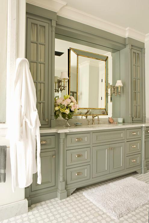 Green gray bathroom vanity cabinets with gold leaf mirror for Grey bathroom cupboard