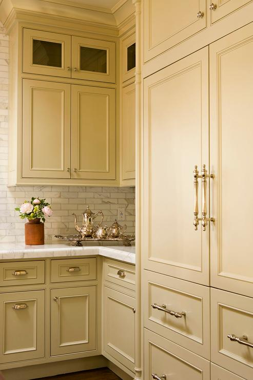 White Upper Kitchen Cabinets with Taupe Lower Kitchen Drawers