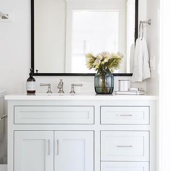 Wonderful Light Blue Bath Vanity With Black Mirror