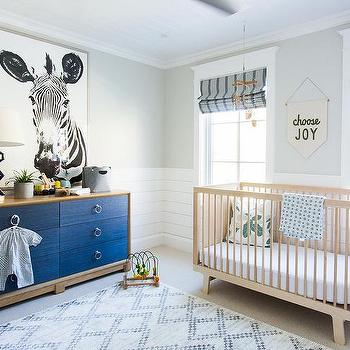 Tan And Blue Boy Nursery With Linen Dresser Drawers