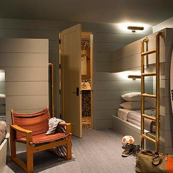 Gray Cabin Bunk Room With Shiplap Bed And Brass Pipe Ladder