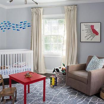 Gray boy room with felt shark head on wall transitional for Catty corner bedroom ideas