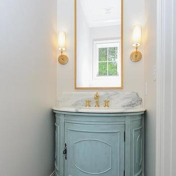 Good Turquoise Blue Half Moon Floating Washstand With Tall Brass Mirror Images