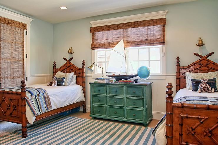 Faux Bamboo Beds with Green Dresser Nightstand - Cottage