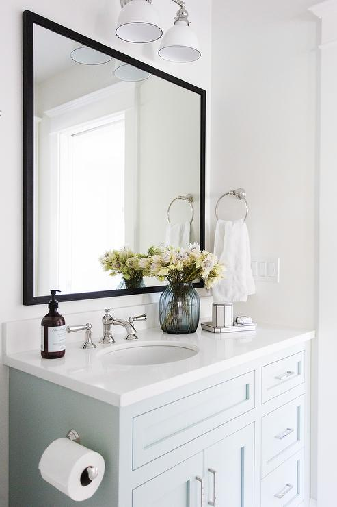 Good LIght Blue Washstand With White Quartz Countertop