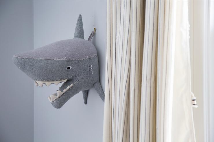 Delightful Gray Boy Room With Felt Shark Head On Wall