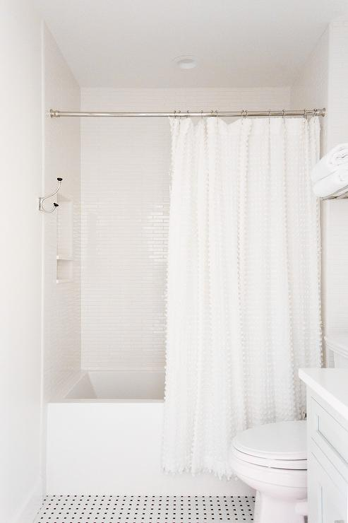 White Pom Pom Shower Curtain - Transitional - Bathroom