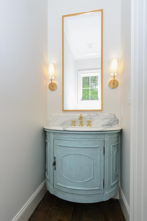 Turquoise blue and gold powder room design ideas for Blue and gold bathroom ideas