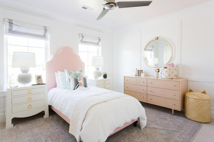 Girl Bedroom With Pale Pink Painted Ceiling Transitional Girls