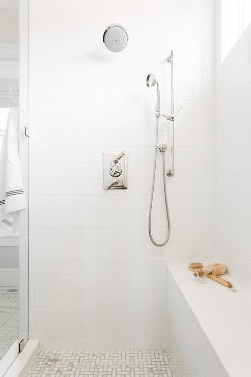 Shower with White Subway Tiles and White Grout Transitional