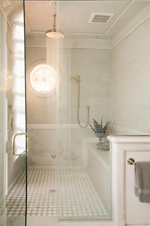 Delightful Spa Shower With White Mini Brick Tiles