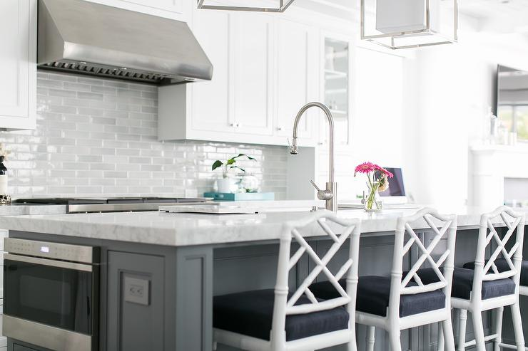 Long Gray Kitchen Island With Drawers And Cabinets
