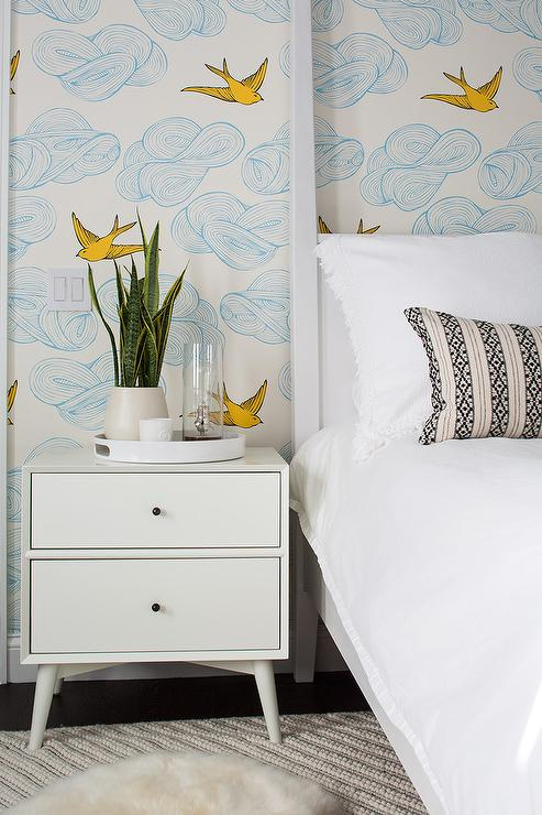 Captivating White Canopy Bed With White Mid Century Modern Nightstand