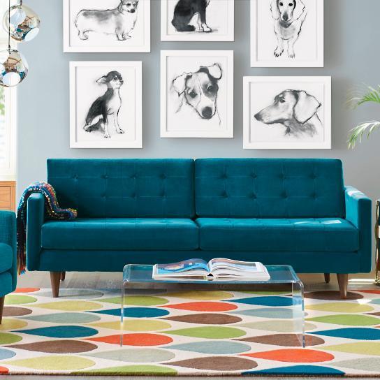 Fine Blue Velvet Midcentury Sofa Cjindustries Chair Design For Home Cjindustriesco