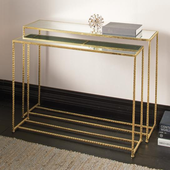 Gold Framed Mirrored Top Nesting Console Table