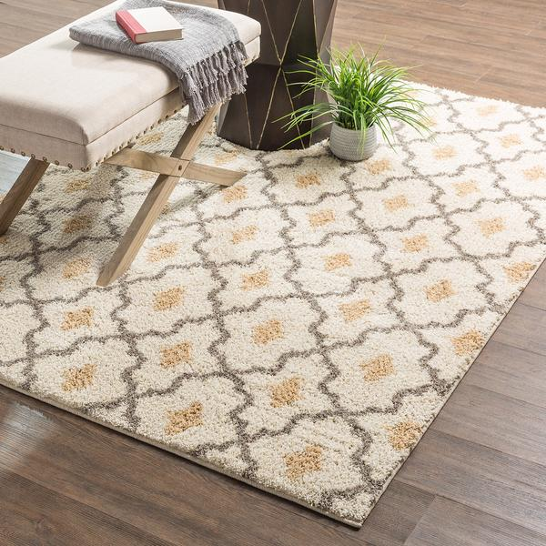 Cream and Gray Trellis Pattern Rug