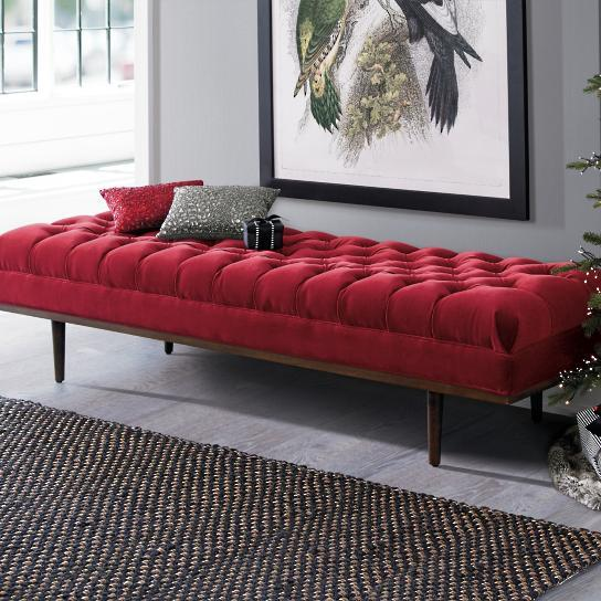 Black Tufted Leather Bench