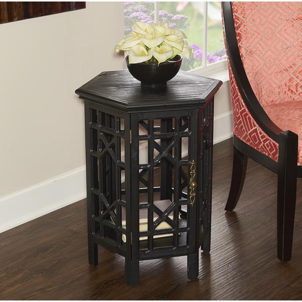 Hex Geometric Cutouts Black Side Table - Hex coffee table