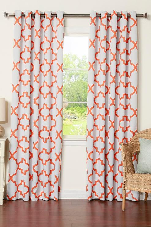 Orange And White Moroccan Blackout Curtain
