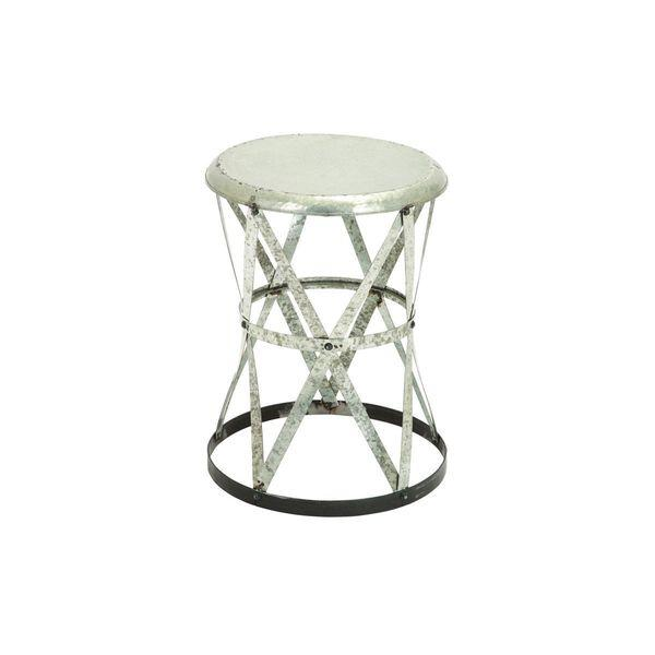Silver Round Metal Accent Table