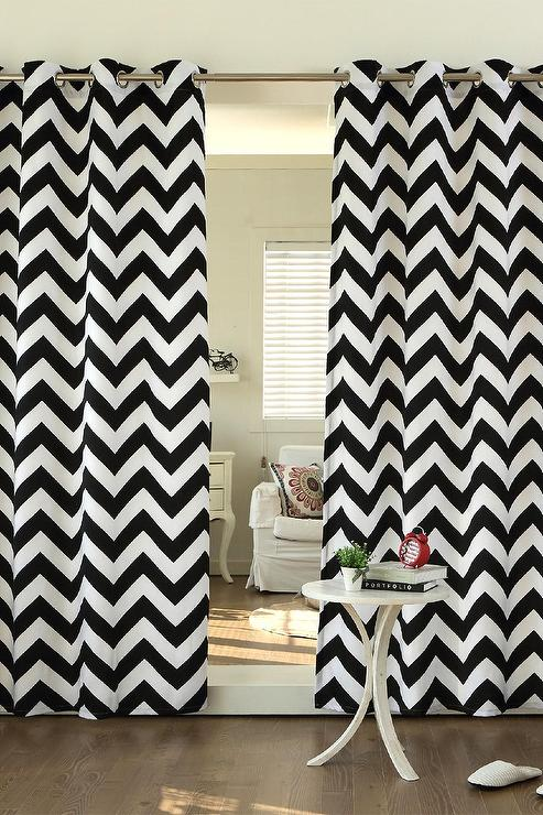 Curtains Ideas black and white patterned curtains : and White Velvet Chevron Printed Curtains