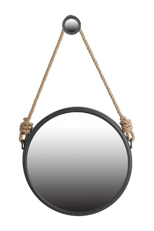 round mirror with rope Black Round Rope Hung Mirror round mirror with rope