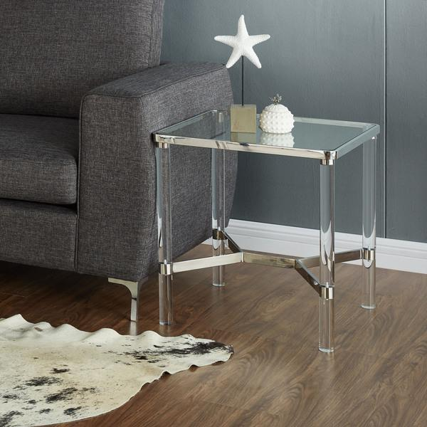 Round Metal Glass Gold Accent Table