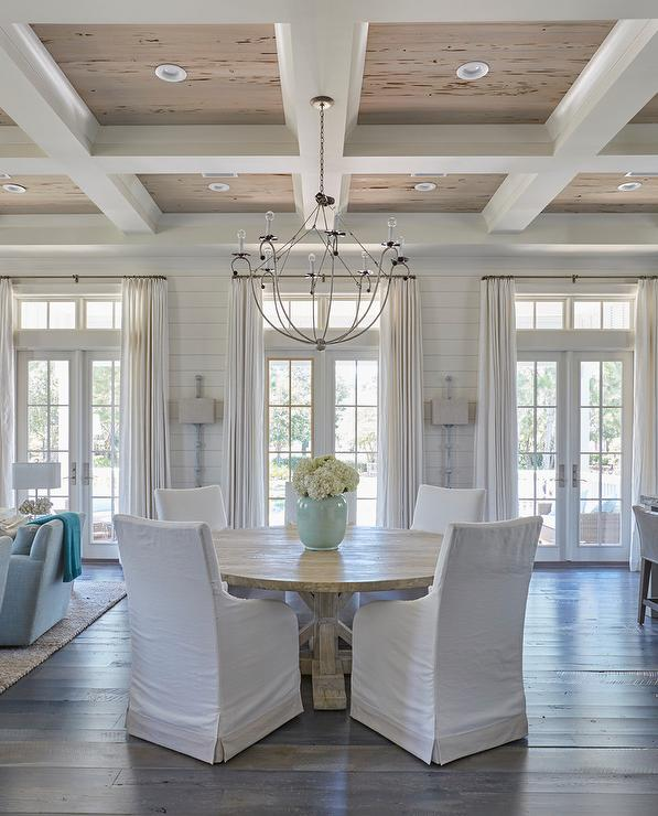 Coffered Ceiling With Pecky Cypress Trim