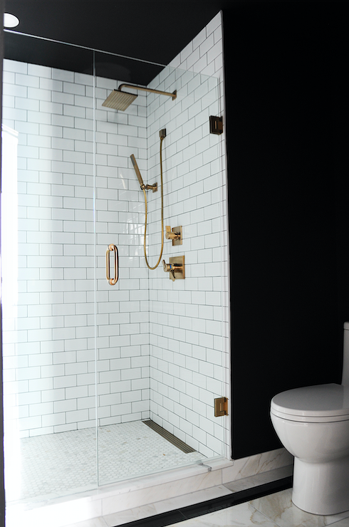 Delightful Black And White Bathroom With Subway Tiled Shower