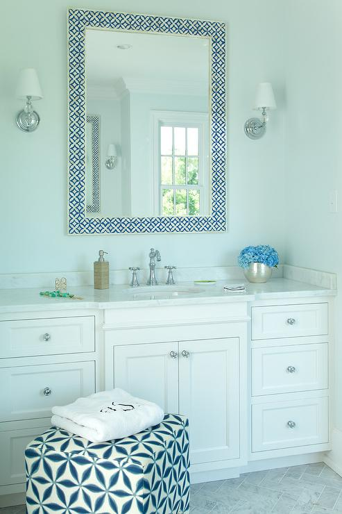 Blue Bone Inlay Bath Vanity Mirror